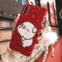 For iPhone XS Max Luxury Pig Bling Crystal Diamond Cover for iphone XR X 6 6S 6SP 7 7P 8 8plus Festive Red stones case +strap