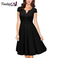Fantaist Summer Dress Women Hepbum Casual V Neck Elegant A Line Formal Evening Gowns Office Bodycon