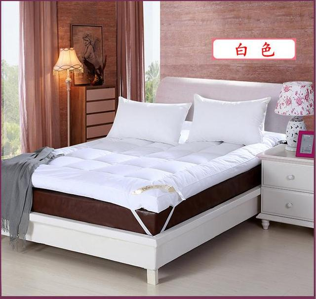 New White Goose Down Quilted Mattress Topper With Straps Home Furniture For Five Star