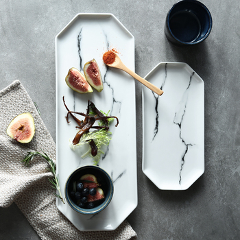 Long strip food plates dishes kitchen accessories marble texture ceramic plates 2pcs/pack
