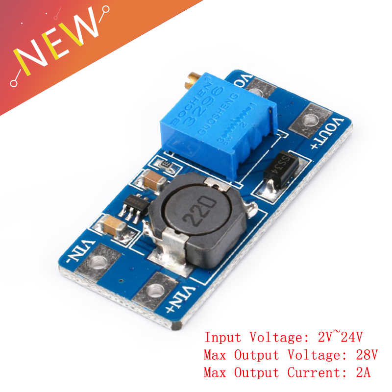 5 Pcs MT3608 DC-DC Tegangan Langkah Up Boost Converter Power Supply Modul 2A 2 V ~ 24 V DC Ke maksimum 28 V DC Power Step-Up Modul
