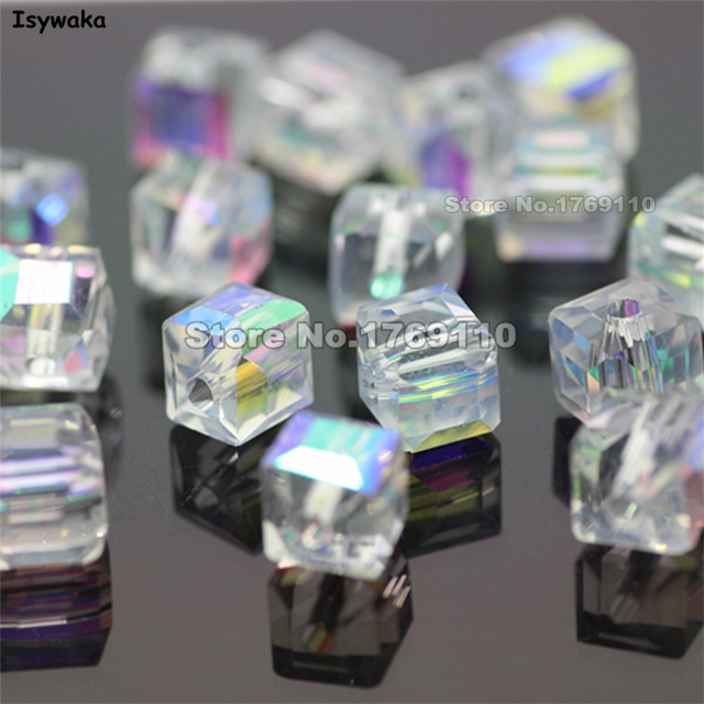 Isywaka 100pcs White AB Color Square 6mm Austria Crystal Beads charm Glass Beads Loose Spacer Bead for DIY Jewelry Making