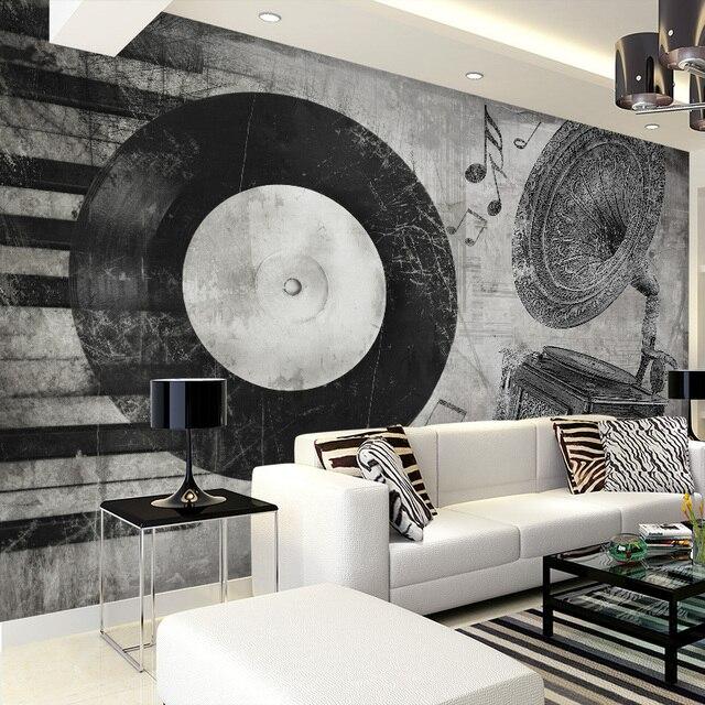 Custom 3d muurschildering zwart wit muziek instrument behang ...