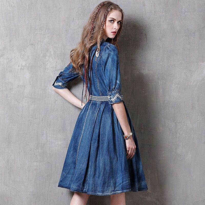 Soirée Dames Femmes Lolita 2018 Vêtements De Gothique Club Boho Broderie Vintage Robe D'été Denim Partie Élégant Rétro Bleu Robes sdBQCxhotr