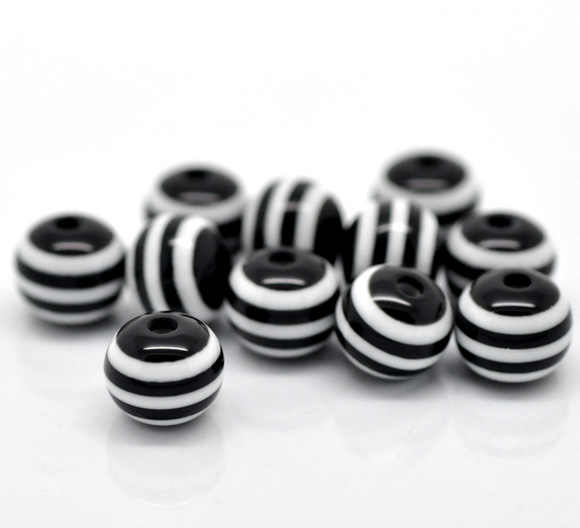 "Resin Spacer Beads Ball Black Stripe Pattern About 8mm( 3/8"") Dia, Hole: Approx 2mm, 25 PCs new"