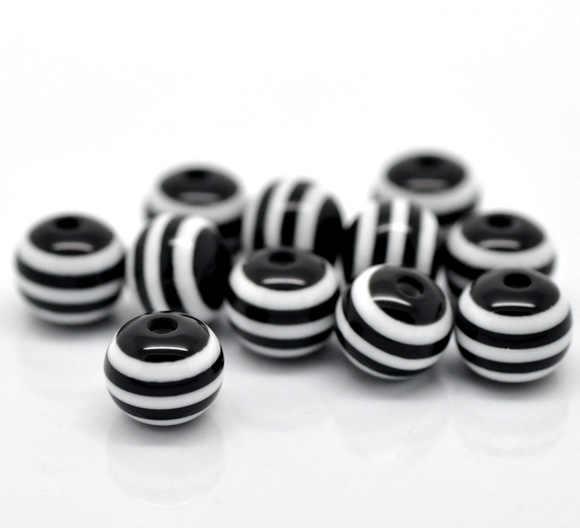 """Padrão da listra preta da bola dos grânulos do espaçador da resina aproximadamente 8mm (3/8 """") diâmetro, furo: aproximadamente 2mm, 25 pces novo"""