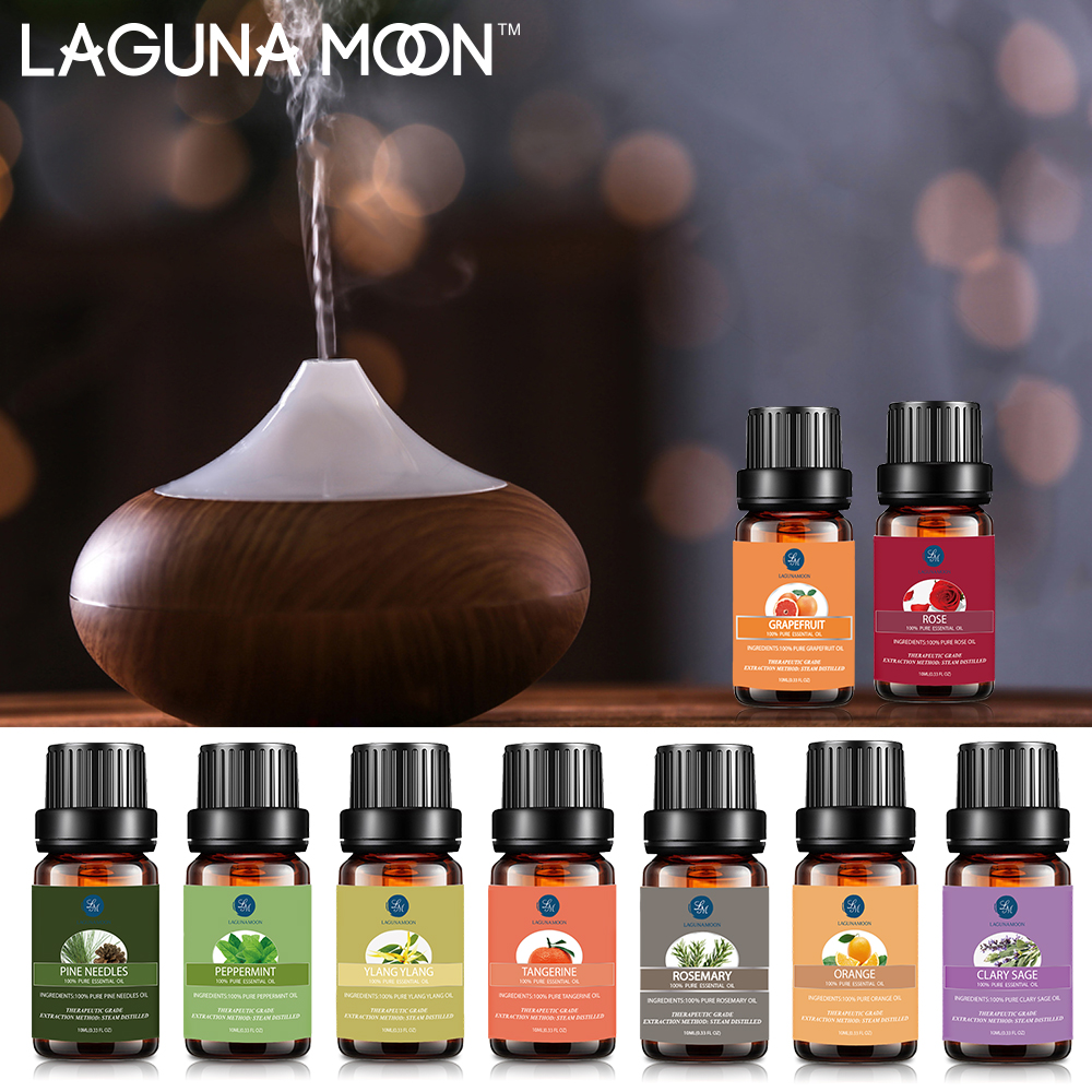 Lagunamoon 10ML Pure Essential Oils Massage Humidifier Tea Tree Cinnamon Thyme Ylang Ylang Grapefruit Vanilla Oil Essential