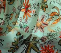 2020 New Flower Type Original Silk Chiffon Primitive Forest Green Element Very refreshing Fabric