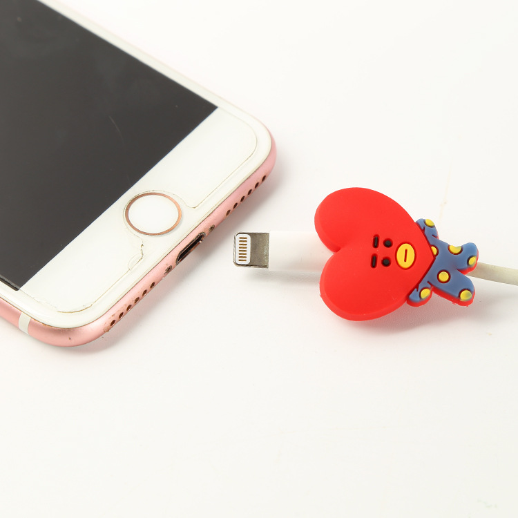 Spot BTS BT21 Charger Cable Winder Protective Case Saver 8 Pin Data line Protector Iphone Earphone Cord Protection Sleeve Wire