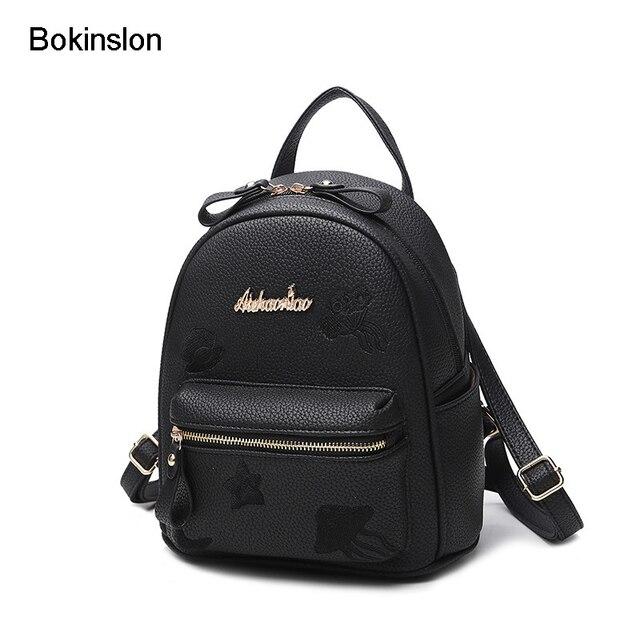 9576dc0abd Bokinslon Mini sac à dos pour fille PU cuir broderie femme mignon sacs  décontracté casual femme