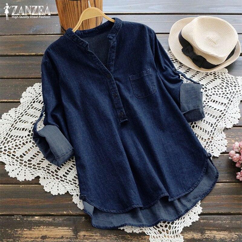ZANZEA 2019 Women's Denim Blue Shirts Fashion Autumn Blouse Casual Button V Neck Long Sleeve Tops Plus Size Jean Tunic Blusa 5XL