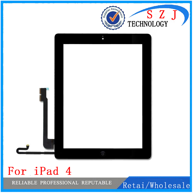 New 9.7'' inch For iPad 4 Touch Screen Glass Digitizer Assembly with 3M Adhesive Glue Sticker and Home Button Replacement panel new touch panel for ipad air 1 ipad 5 touch screen digitizer flex cable front glass assembly adhesive with home button t0 3