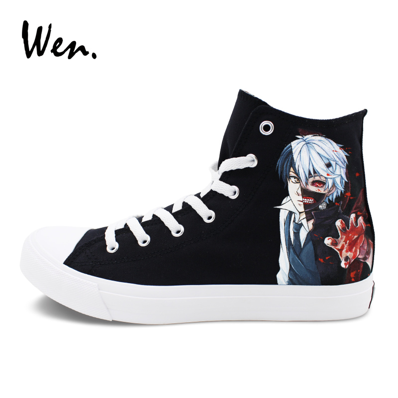 Wen Hand Painted Shoes Hi Top Flat Sneakers Black Canvas Design Anime Tokyo Ghouls Graffiti Cosplay Shoes Athletic Men Women цена