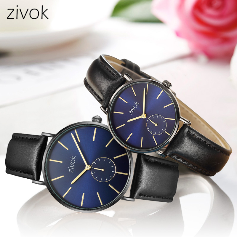 zivok 2018 Fashion Lovers Watch Top Featured Brand Black Leather Couple Watch for Women Men Quartz Wrist Watches Clock Hour xfcs funique fashion lovers couple watches women men leather simple yes no watch hour clock ladies quartz wrist watch relojes mujer