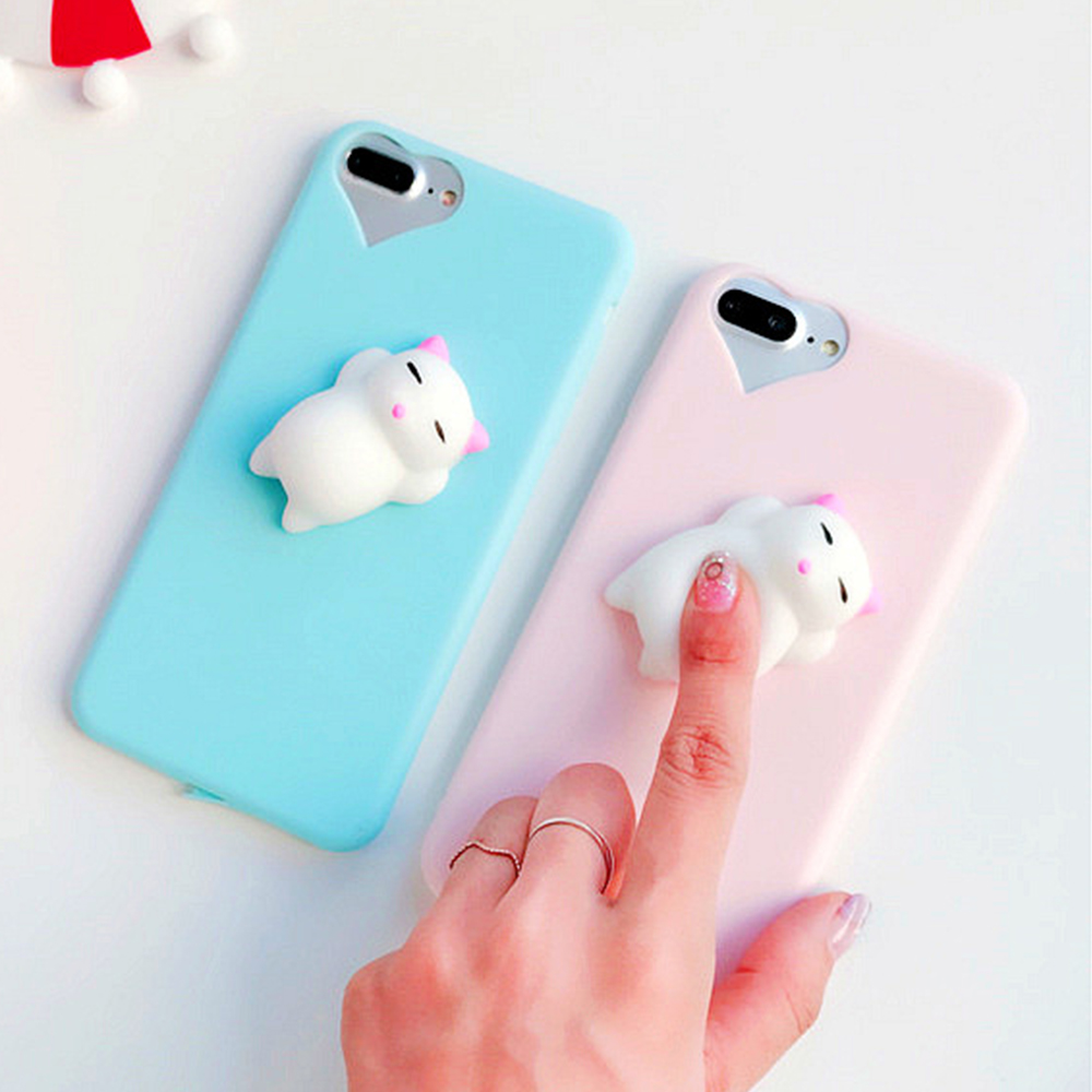 Iphone 6 squishy case - Kisscase For Iphone 7 Plus 5s 5 Case Cute 3d Squishy Doll Cat Seal Phone Cases