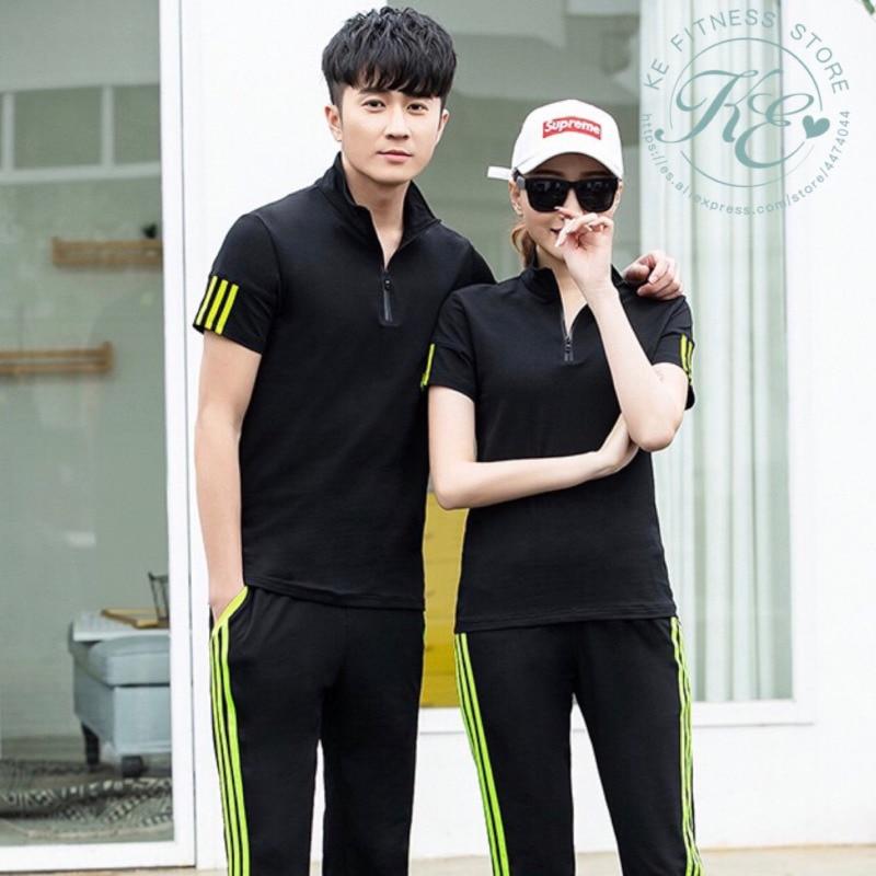 KE Conjunto manga corta unisex camiseta de hombre o mujer pantalones cortos fitness ropa deportiva de