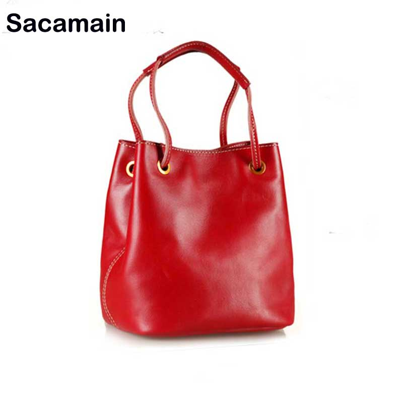 Sacamain Brand Vintage Handmade Elegant Tote Handbag 100% Real Leather Women Designer Genuine Leather Shoulder Bag Female vintage designer 100