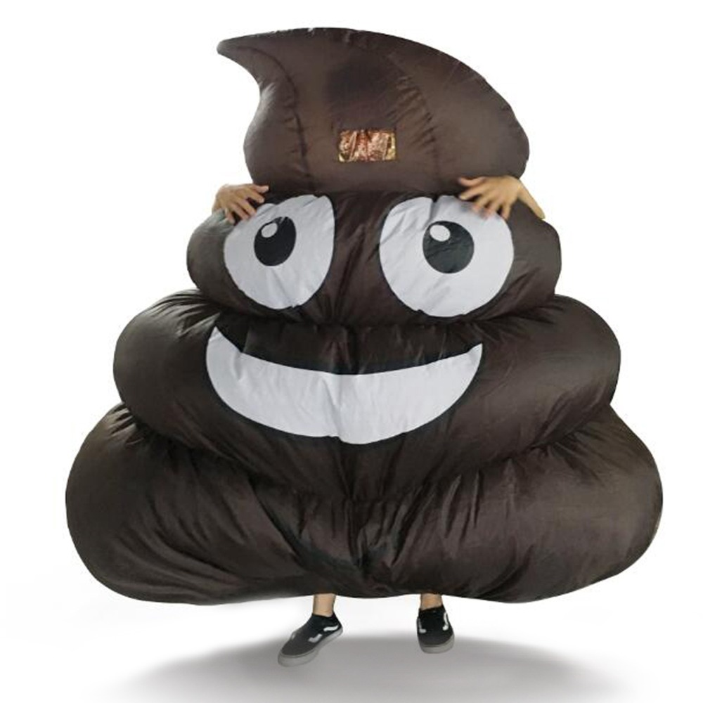Inflatable Giant Poop Emoji Costume for Adult Kids Halloween Party Game One size Fit Most Height 150 cm Up one night ultimate werewolf english cards board game for party family fun