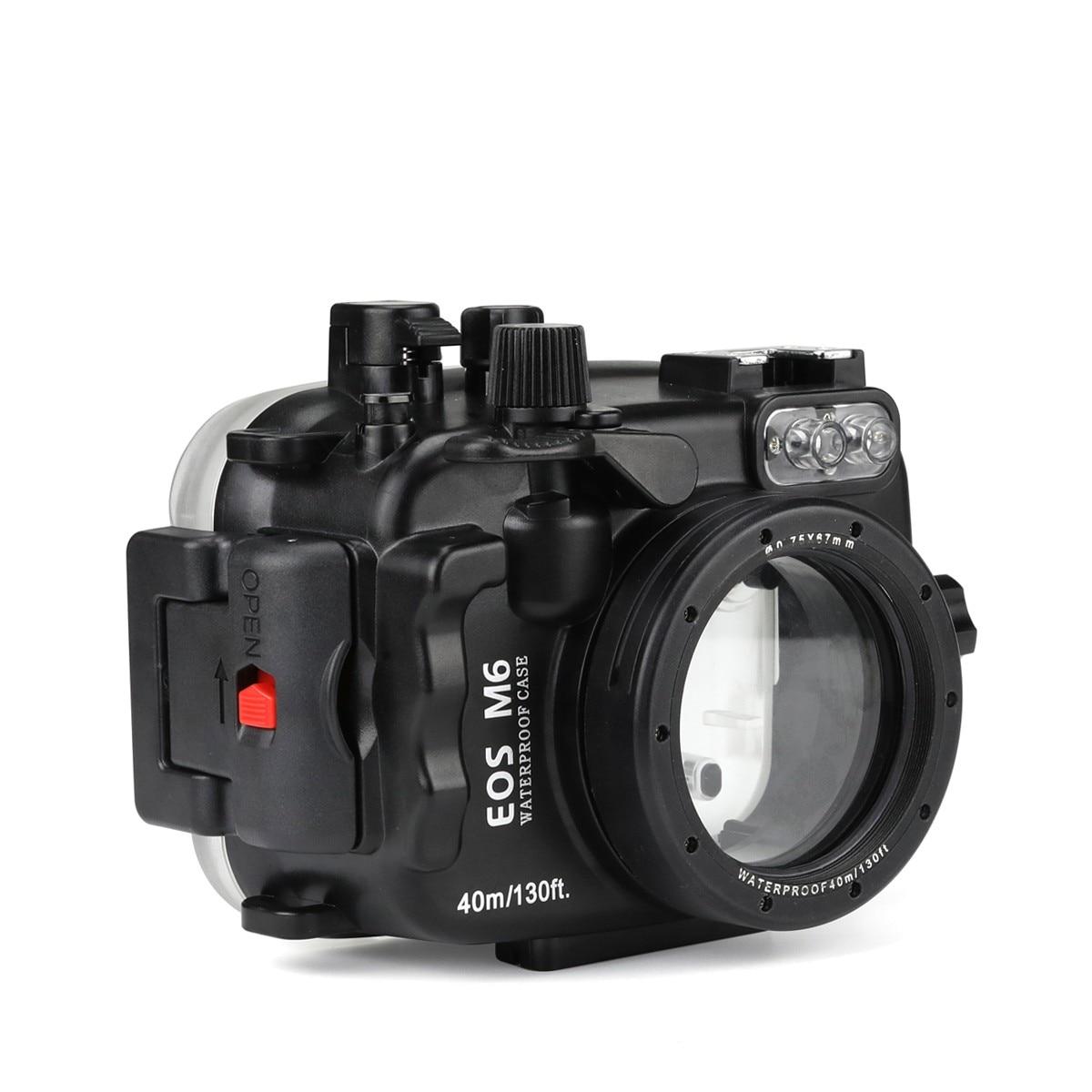 Habitação para Canon Lente da Câmera à Prova Bolsas para Canon Seafrogs Mergulho Submarino Câmera Case Eos m6 22mm d' Água 40 m – 130ft