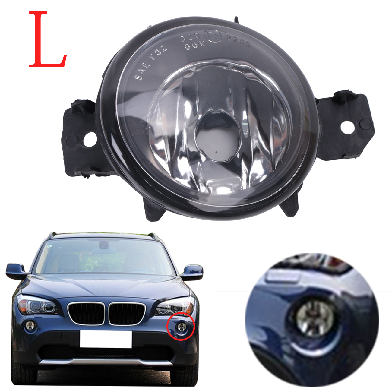 For bmw x3 x5 e70 e83 front fog lights clear driving lamps foglamp housing left side