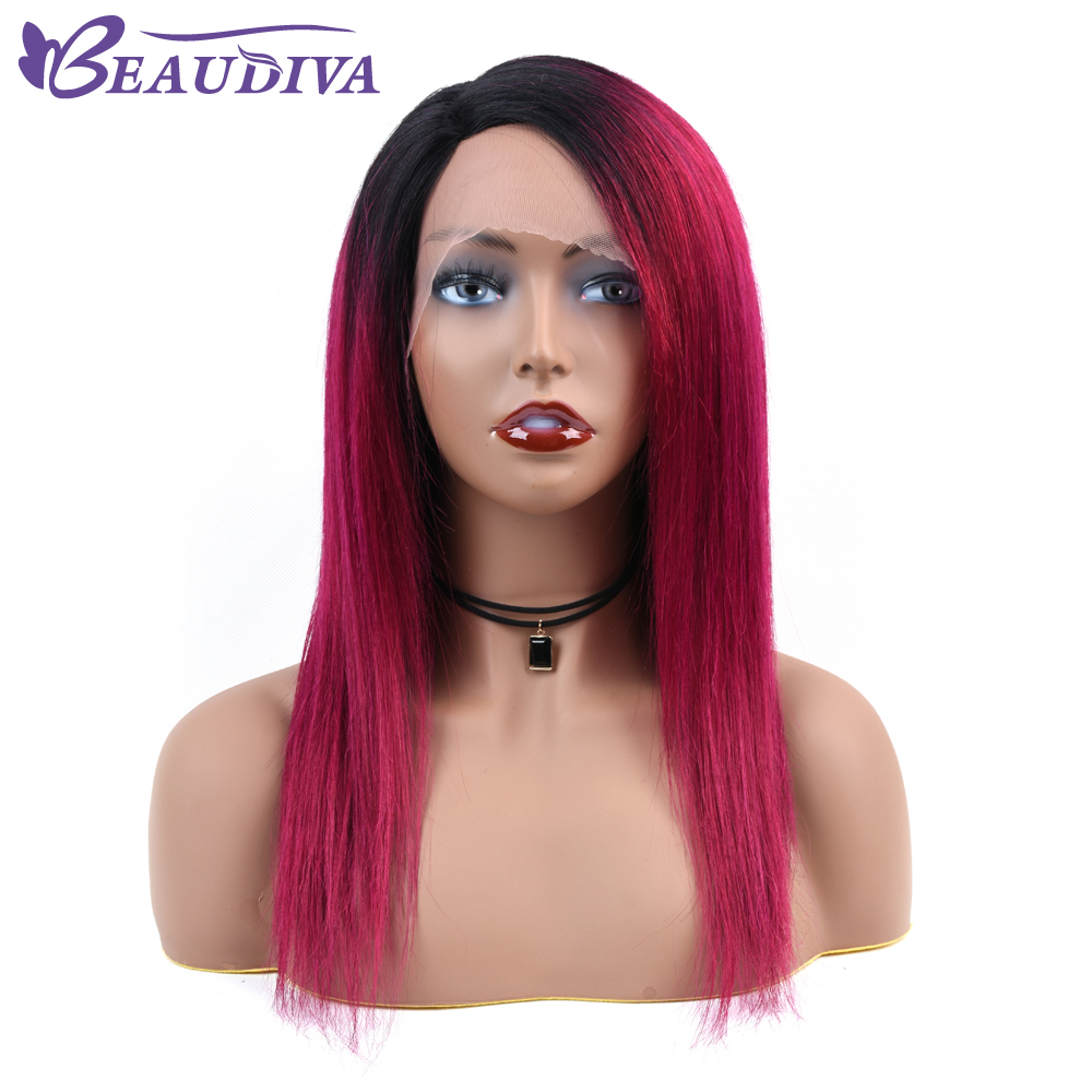 Ombre 1B 118 Lace Front Human Hair Wigs Brazilian Straight Bob Wig Pre Plucked Hairline With
