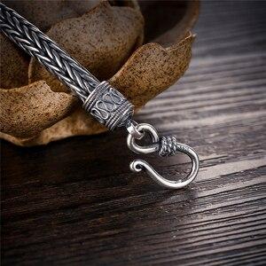 Image 4 - GAGAFEEL hakiki 100% gerçek saf 925 ayar gümüş erkekler bilezikler kenevir halat Vintage el yapımı tay gümüş erkek takılar güzel hediye