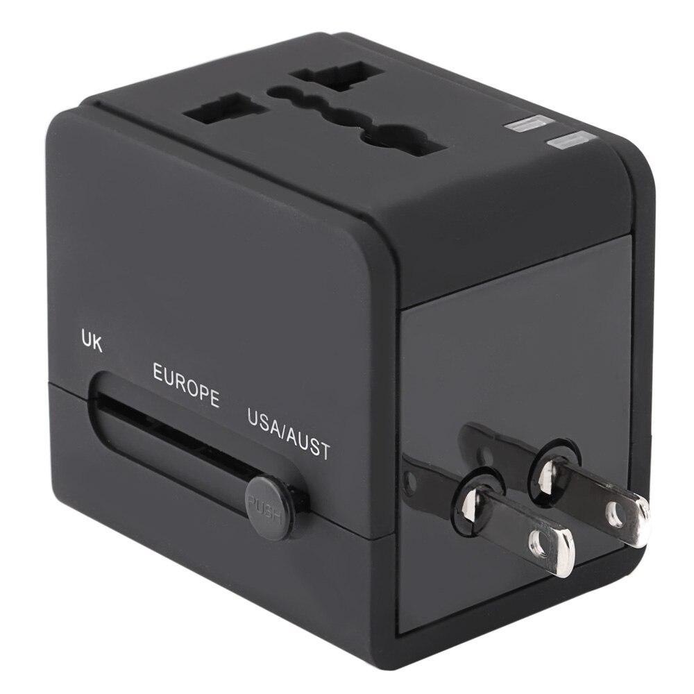 Multifunctional Travel Adapter International Plug Dual USB Charging Port Universal AC Socket Drop Protection Bag