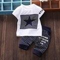 Новый случайный ребенок мальчик одежда с коротким рукавом футболки + решетки брюки младенческой 2 шт. костюм новорожденных детская одежда устанавливает лето