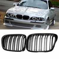 For BMW E39 5Series 525i 528i 530i 1995 2004 Pair Gloss/Chrome Black Car Front Kidney Grilles Grille Racing Grills