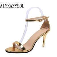 AIYKAZYSDL Sandalia Feminina womens sandals high heels pumps ankle strap wedding party shoes Stilettos white black gold silver