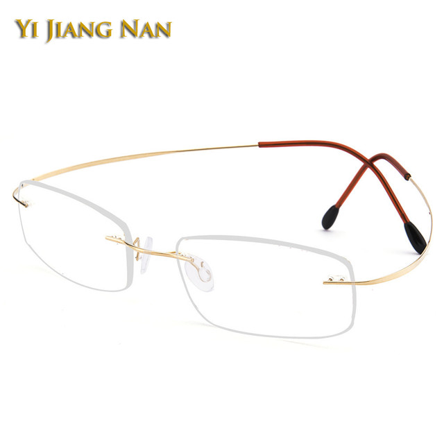 dfd42e997806 Yi Jiang Nan Brand Women and Men Fashion Rimless Titanium Light Eyewear  Super Quality Frameless Spectacles Frame Light Eyeglass