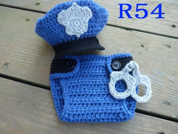 Free shipping Handmade infant Baby police hat with matching Diaper  Cover shorts set NB- e81b8b74a4f