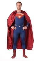 Mens High Quality Superman Spandex Suit Costume Blue Zentai Suit Superman Costume Adult Spandex Cosplay Superhero Movie Costumes