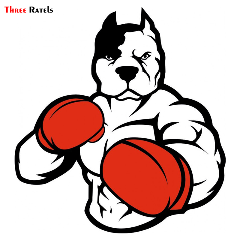 Three Ratels TRL175# 15x15cm Pitbull Dog Polite People Soldier Boxer  Car Sticker Funny Car Stickers And Decals