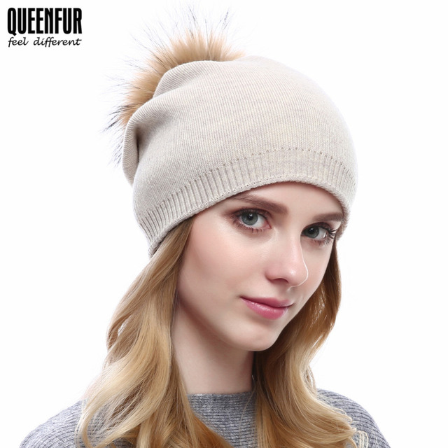 3d7dac505c0e2 QUEENFUR Knitted Wool Beanies Women Winter Hats With Real Raccoon Fur  Pompom Skullies Beanies Casual Hat For Girls