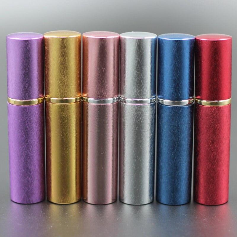Nowe pompy 50 sztuk/partia 10 ml z anodyzowanego aluminium szklana butelka perfum fiolka perfumy płyn Atomizer Spray pojemnik na butelki zapach butelka w Butelki wielokrotnego użytku od Uroda i zdrowie na  Grupa 1