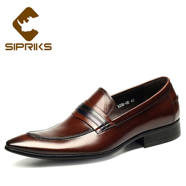 Sipriks Classic Slip On Dress Shoes For Men Pointed Toe Penny Loafer  Business Office Men Leather Shoe Burgundy Party And Wedding f299a858dbcd