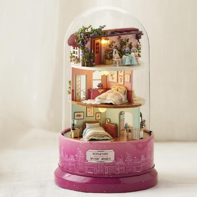 Mignon Chambre DIY Dollhouse Miniature Modèle Maison de Poupée Avec Des Meubles En Bois Rotation Boîte à Musique Jouets Cadeau Avec Housse de protection B031 # E