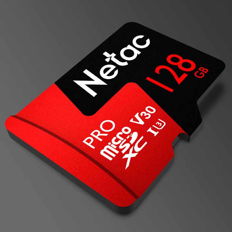 Tarjeta de memoria Netac Microsd 128 gb P500 Pro Clase 10 microSDXC V30 U3 UHS-I venta al por mayor 2018 nueva tarjeta Flash 128 gb para teléfono móvil
