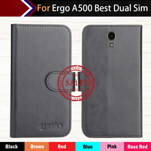 Hot!!In Stock Ergo A500 Best Dual Sim Case 6 Colors Luxury Leather Exclusive For Phone Cover+Tracking