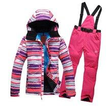 Snowboard Jacket Winter Outdoor Sport Outerwear Waterproof Warm Women skiing Coat and ski pants