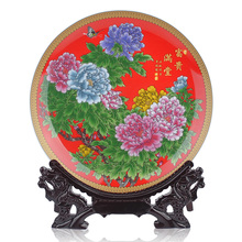 Jingdezhen ceramics China red decorative plate hanging plate disk full of rich modern fashion Home Furnishing ornaments