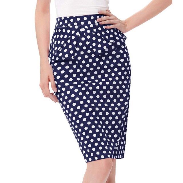 4a1e445bfb Sexy verano falda 2017 moda jupe alta cintura Polka Dots plisado Mujer  talla grande Vintage Bodycon