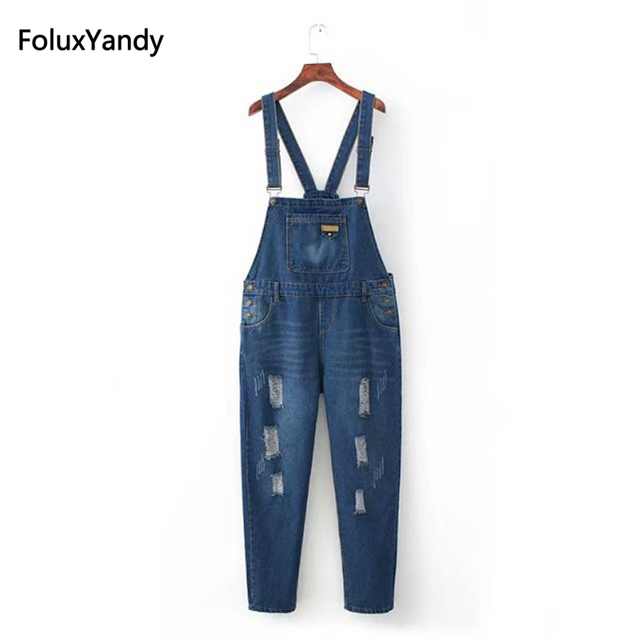 Ripped Jeans Overalls Women Plus Size 3 4 5 XL Casual Hole Front Pockets Denim Overalls Blue Trousers KKFY174 denim overalls male suspenders front pockets men s ripped jeans casual hole blue bib jeans boyfriend jeans jumpsuit or04