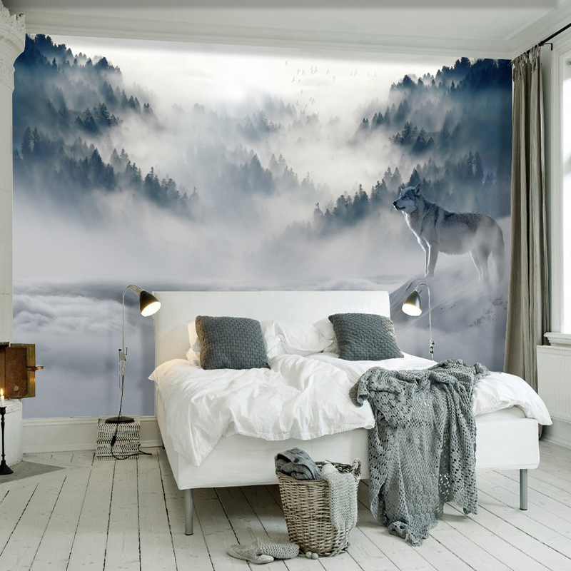 US $7.98 57% OFF 3D Wallpaper Modern Simple Fog Forest Wolf Animal Photo  Wall Murals Living Room Bedroom Wall Paper For Walls 3 D Papel De Parede-in  ...