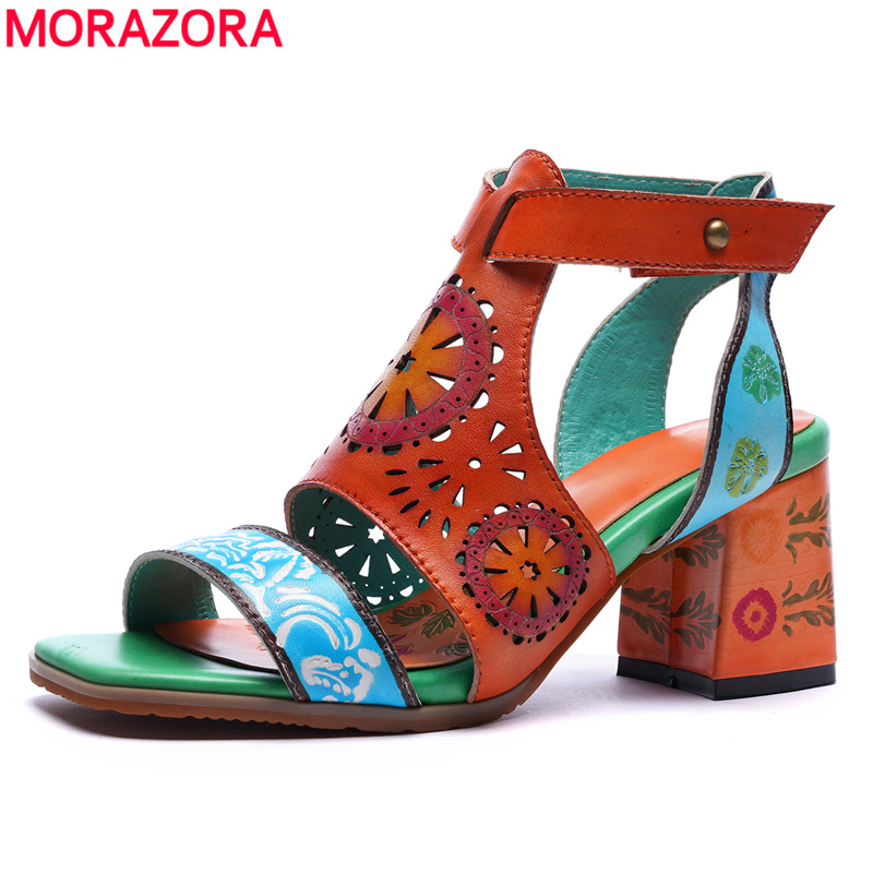 MORAZORA 2019 new style high heels sandals women genuine leather shoes summer hollow out rome sandals