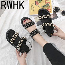 RWHK Sandals womens shoes summer tide 2019 new fairy wind wild thick bottom slope with a word of Rome B470