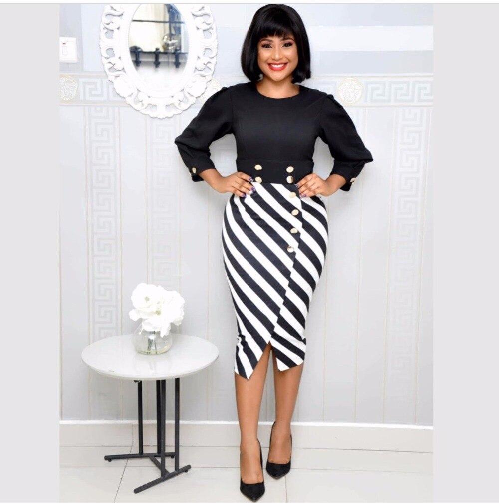 JIASIYUN Autumn Dress Striped Wrist Asymmetrical Office Lady Fashion Rivet O Neck Black White Mid Calf Formal Clothing