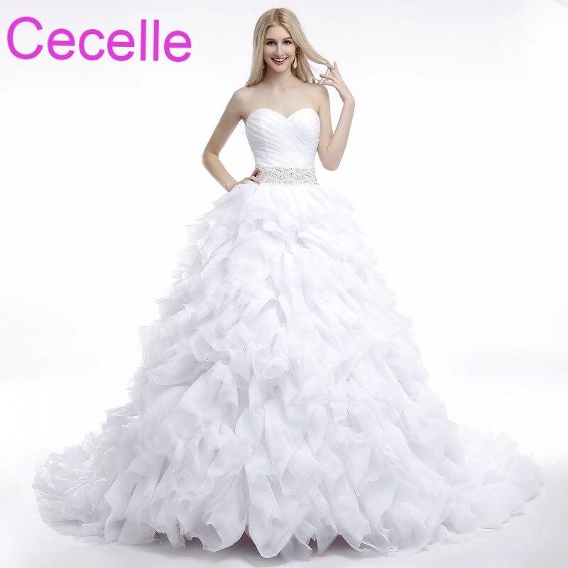 Ruffled Ball Gown Wedding Dress: Ball Gown Princess Long Wedding Dresses 2019 Sweetheart