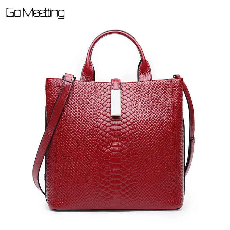 Go Meetting Genuine Leather Women Messenger Bag Tote Famous Brand Female Shoulder Bags Ladies HandBags Alligator Crossbody Bag genuine leather shoulder bags crossbody bag women messenger bags female bag cowhide handbags women famous brand ladies tote